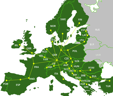 Map road freight across Europe.